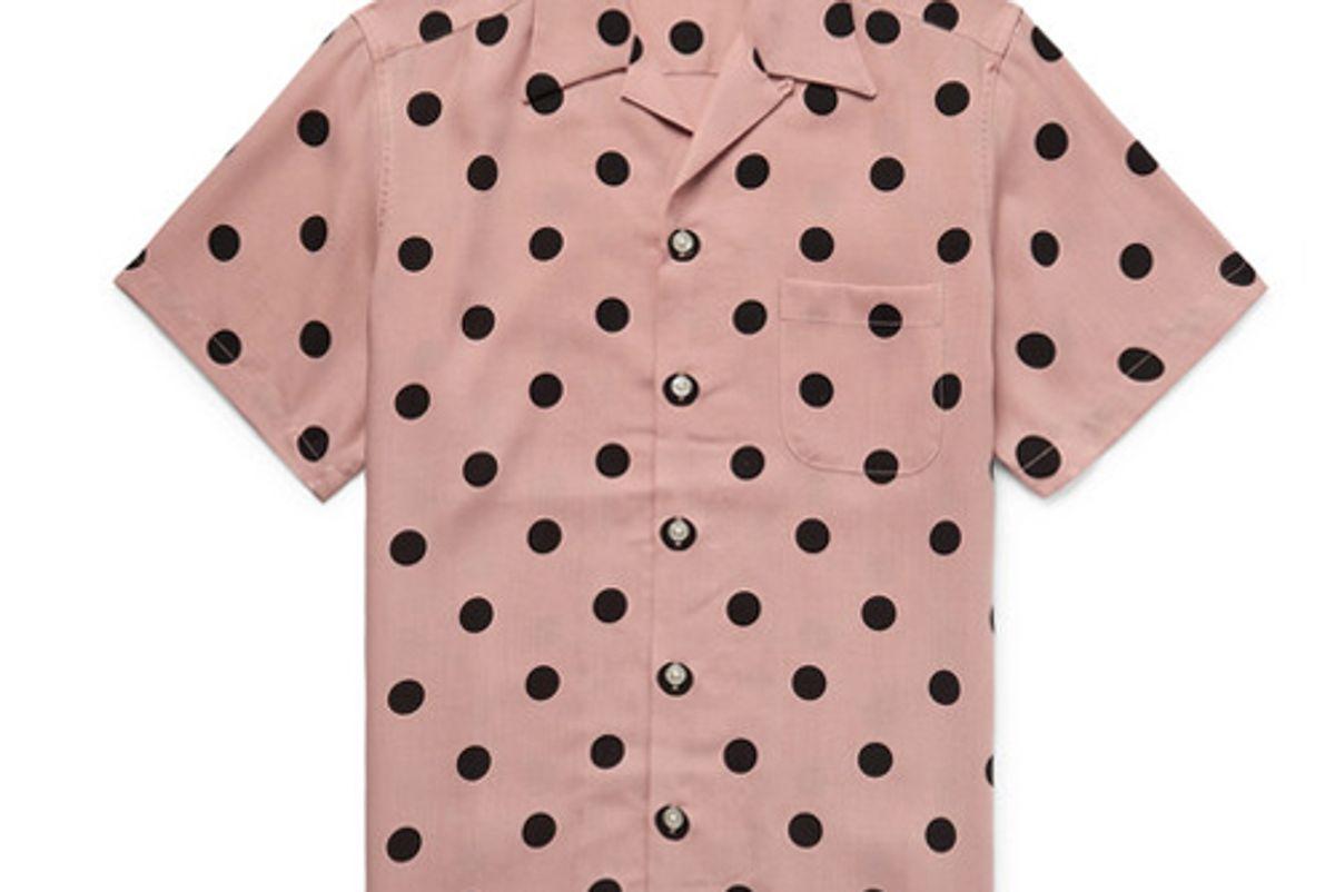 wacko maria camp collar polka dot lyocell shirt