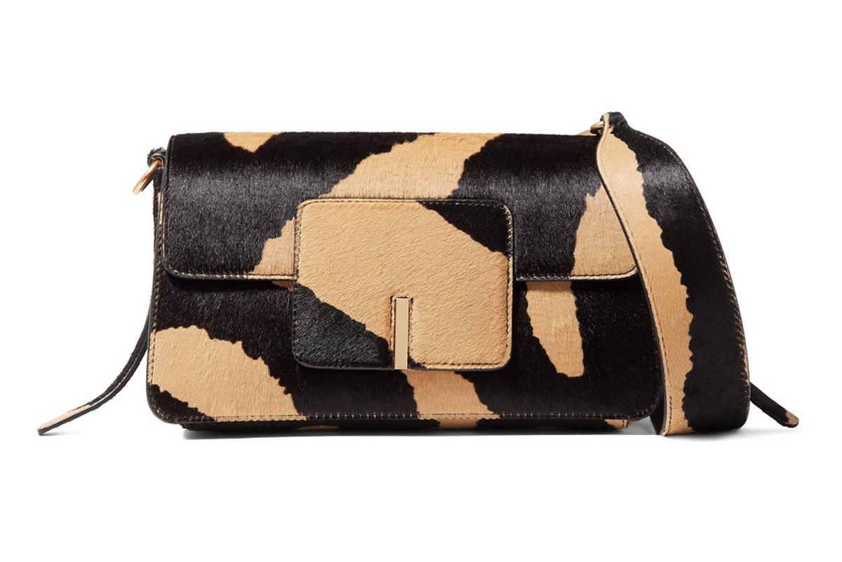 wandler georgia leather trimmed calf hair shoulder bag