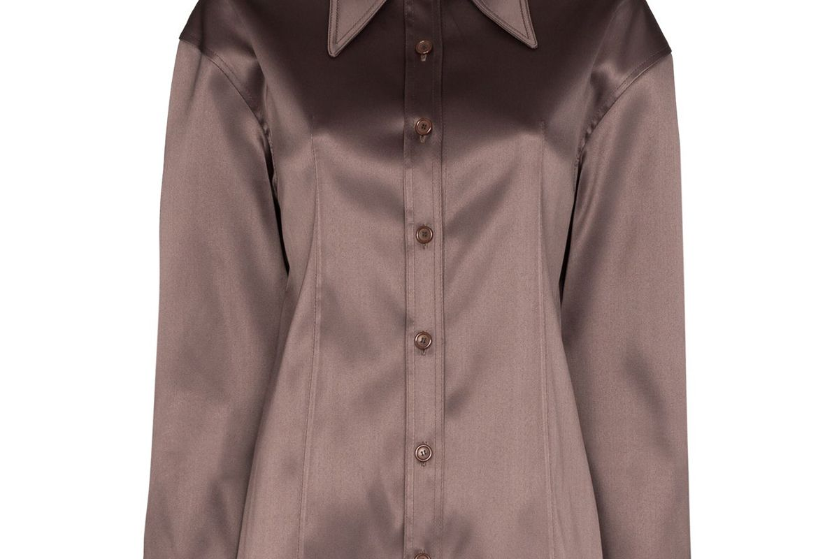 we11done exaggerated collar button down shirt