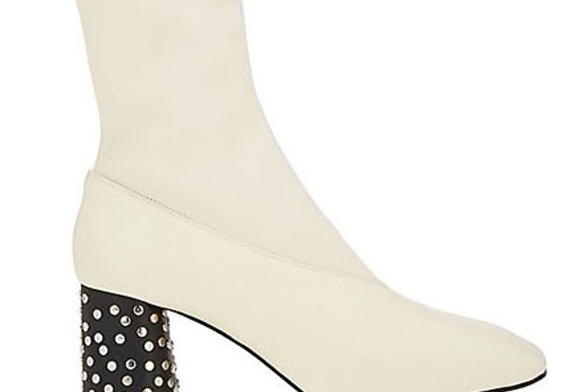 Studded-Heel Leather Ankle Boots
