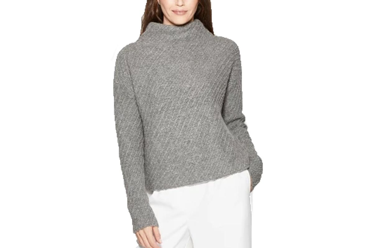 womens long sleeve textured mock neck pullover sweater prologue