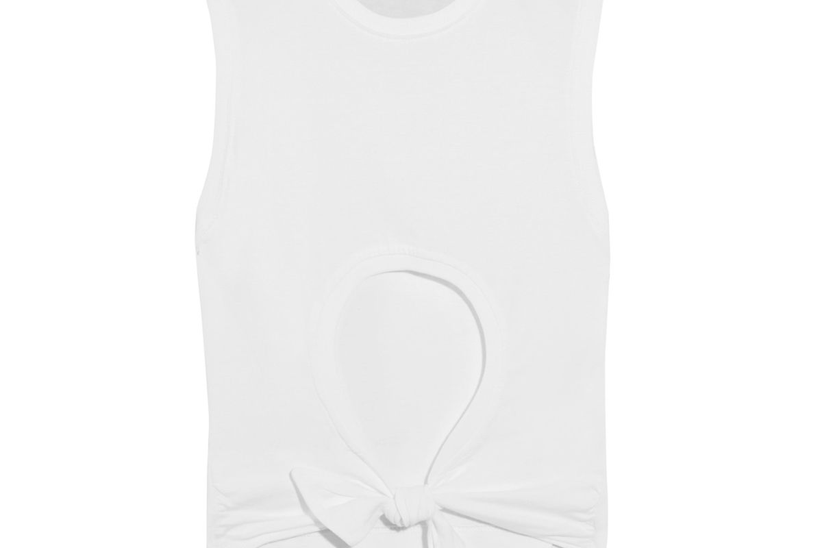 Embroidered Cutout Cotton-Jersey Top