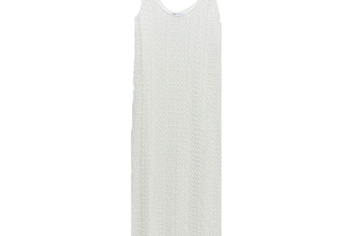 zara cable knit jacquard dress