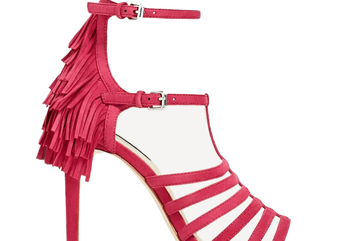 Fringed Heel Leather Sandals