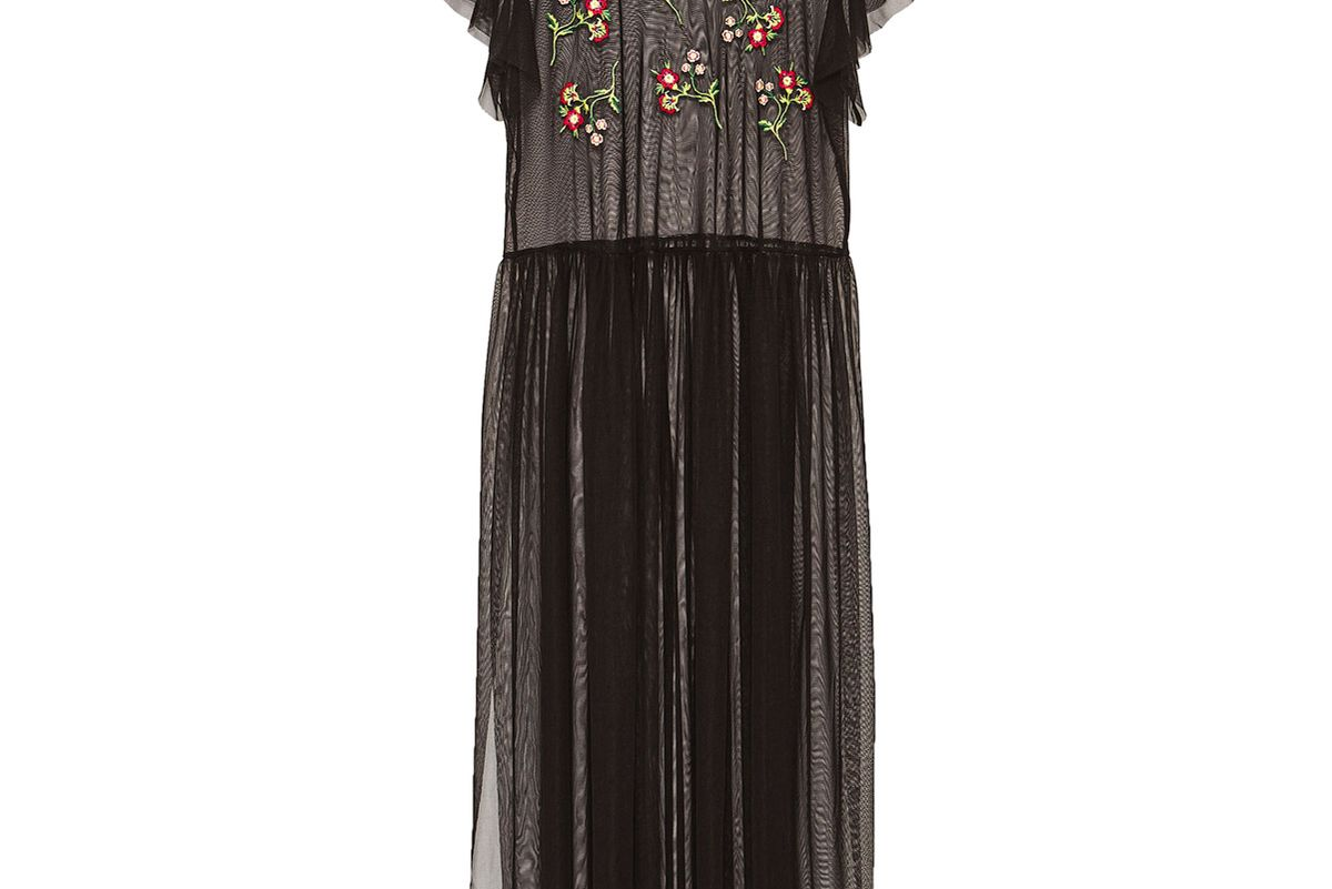 Long Embroidered Tulle T-Shirt