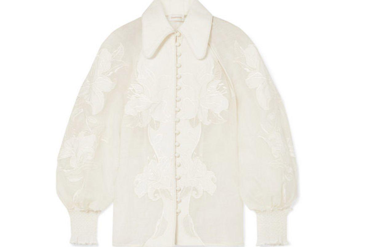 zimmermann corsage appliqued linen and silk blend blouse