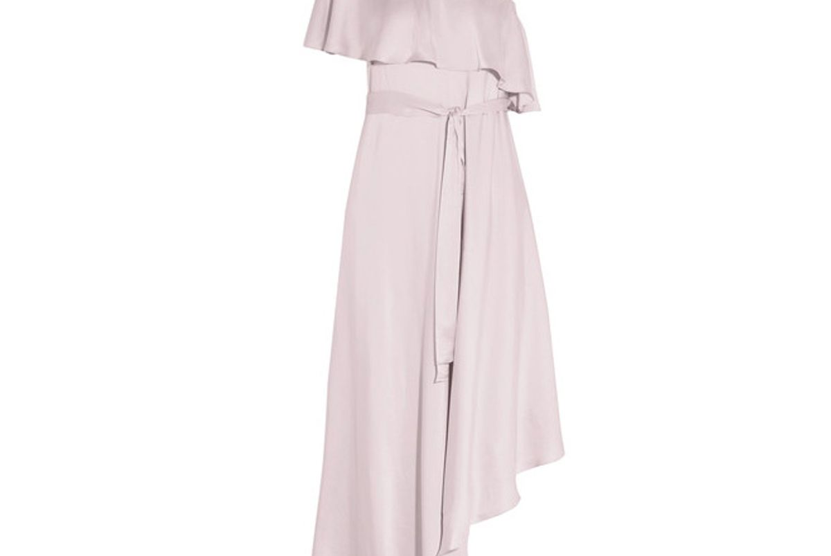 One-shoulder Ruffled Silk Midi Dress