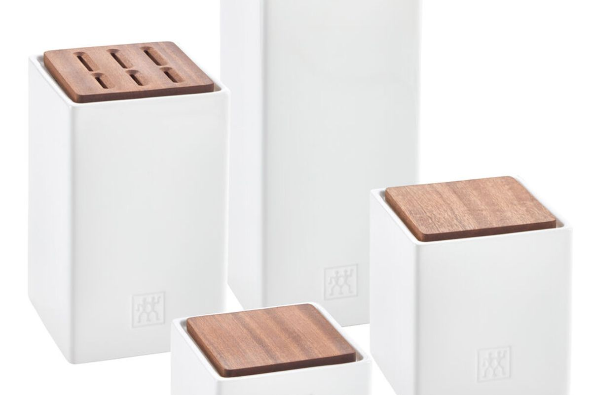 zwilling 4 piece ceramic and sapele wood storage and herb pot set