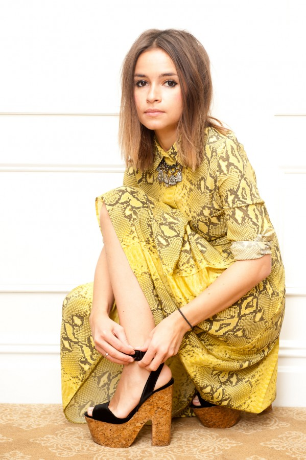 Miroslava Duma Style Yellow Dress Cork Wedge Sandal