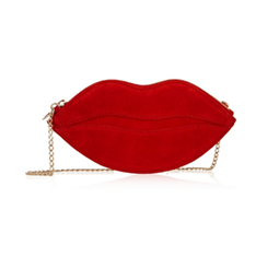 Kiss Purse Suede Shoulder Bag