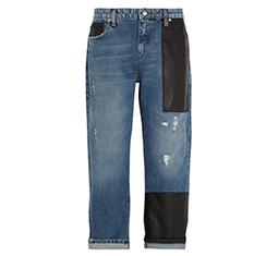 Faux Leather Trimmed Boyfriend Jeans