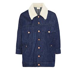 Oversized Shearling Trim Denim Jacket