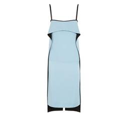 Satin-Paneled Crepe Dress