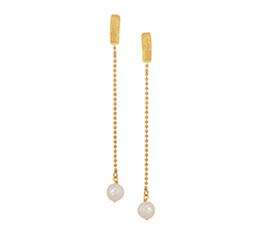 Hammered Gold-Plated Freshwater Pearl Earrings
