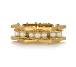 Pearl Satellite Gold-Plated Faux Pearl Bracelet