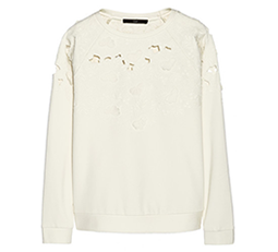 Floral-Appliquéd Cutout Sweatshirt
