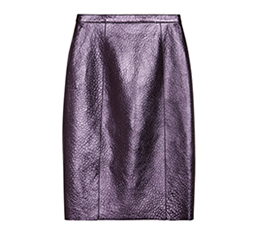 Metallic Textured Leather Pencil Skirt