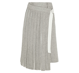 Pleated Chiffon-Paneled Felt Shorts