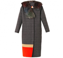 Fur Trimmed Prince of Wales Checked Coat
