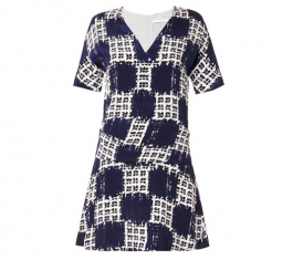 Scribble Check Print Dress