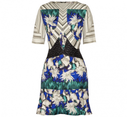 Elizabeth Printed Textured Silk-Blend Dress