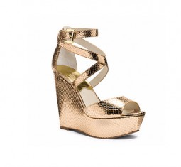 Gabriela Metallic Embossed-Leather Wedge
