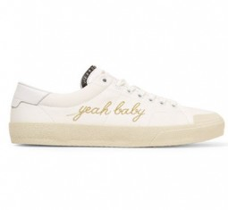 Leather-Trimmed Embroidered Canvas Sneakers