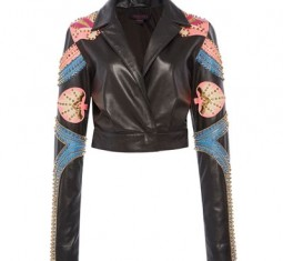 Sheep Leather Embroidered Biker Jacket