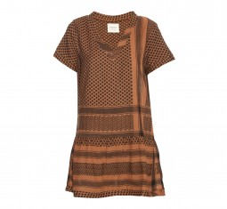 Short-sleeved scarf-jacquard dress