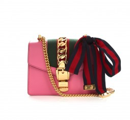 Sylvie mini buckle leather shoulder bag