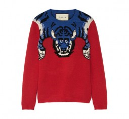 Embellished intarsia wool sweater