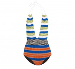 Mare cutout striped crochet-knit halterneck swimsuit