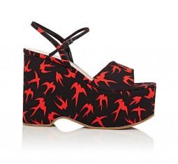 Gabardine Platform Wedge Sandals