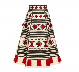 Geometric-embroidered linen skirt