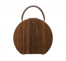 Walnut Wood & Chocolate Calf Leather Top Handle Bag