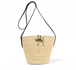 Leather-trimmed woven toquilla straw shoulder bag