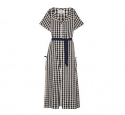 Gingham cotton and linen-blend poplin dress
