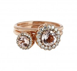 Diamond, morganite & pink-gold Beirut rings