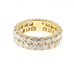 Diamond gold two row eternity band ring