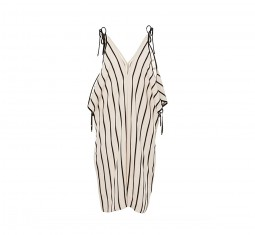 Open shoulder striped romper