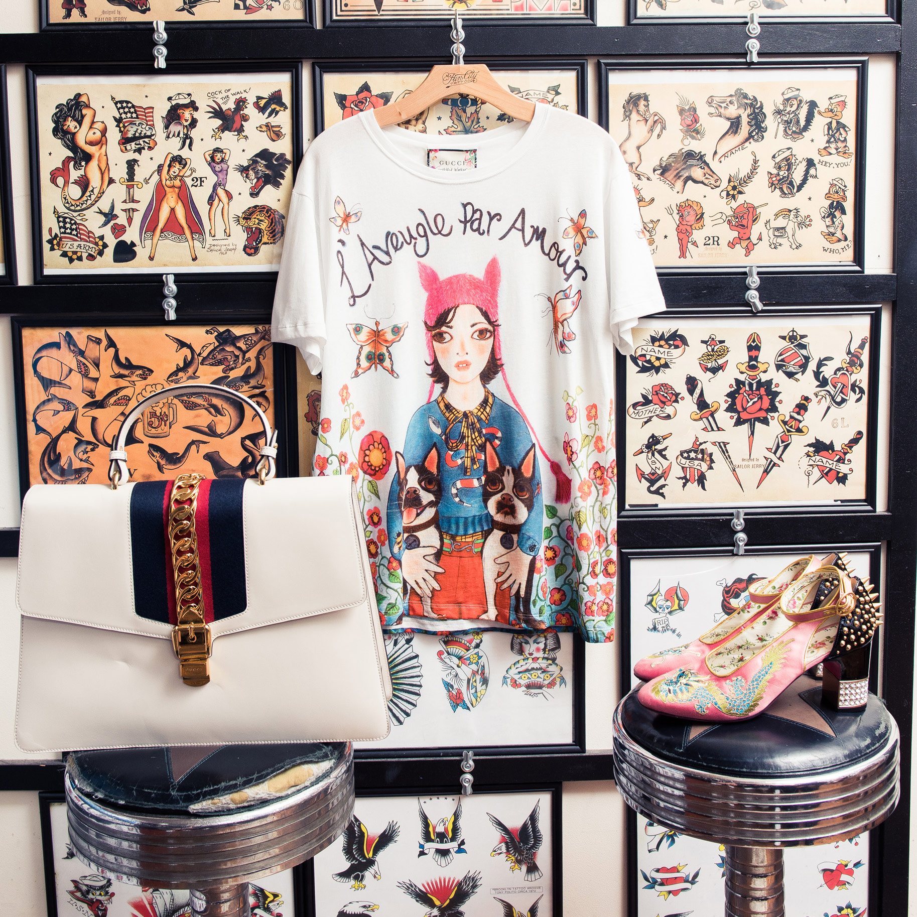 df38ca679 Jan-Michael Quammie Styles Gucci x Unskilled Worker's Fall Collaboration -  Coveteur