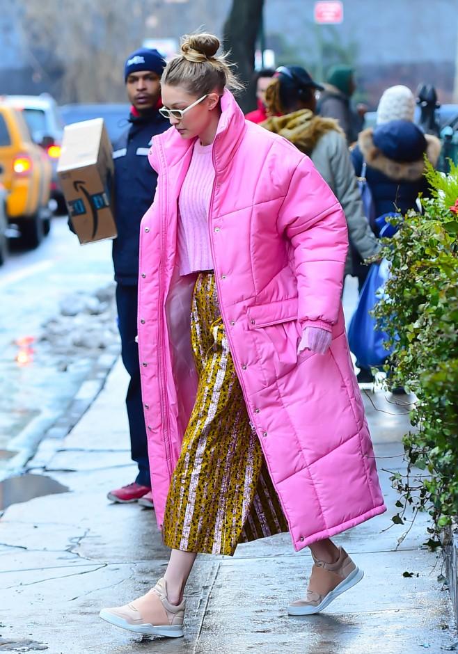 86332268dcd Shop Item. Shop Item. Shop Item. Shop Item. Shop Item. Gigi Hadid wore a  pink puffer jacket ...