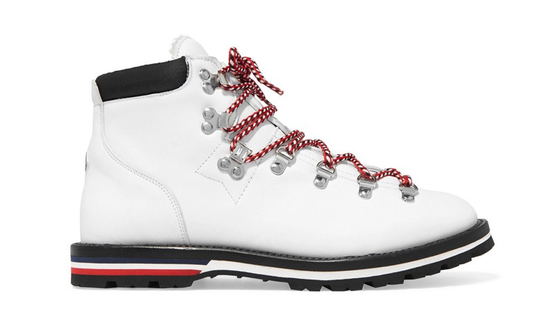 moncler blance shearling lined leather angkle boots
