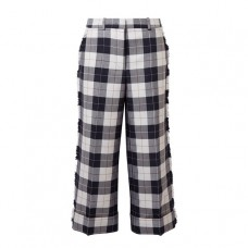 thom browne cropped frayed checked wool blend pants