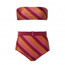 zimmermann kali belted striped bandeau bikini