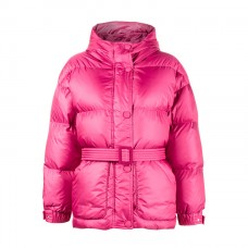 ienki ienki pink michelin belted puffer jacket with hood