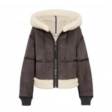 stella mccartney hooded faux shearling jacket
