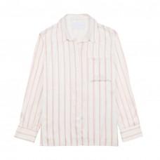 asceno blush stripe printed silk pyjama top