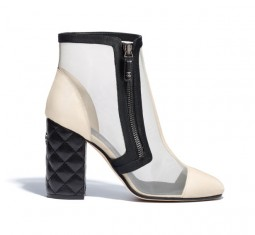 Mesh and Grosgrain Short Boots by CHANEL