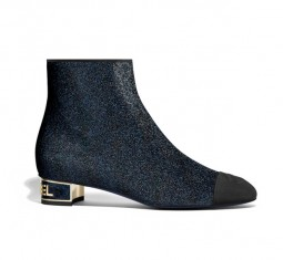 Glitter & Grosgrain Short Boots by CHANEL